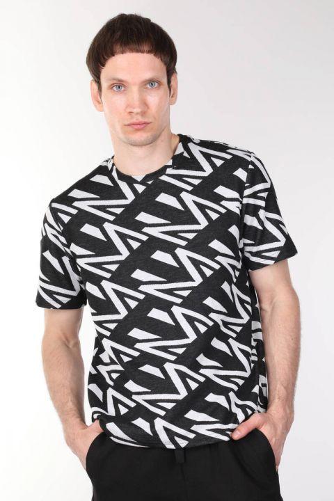Bisiklet Yaka Kalın Erkek T-shirt