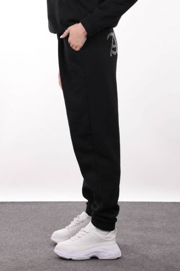 MARKAPIA WOMAN - Black Angel Stone Embroidered Raised Jogger Sweatpants For Women (1)
