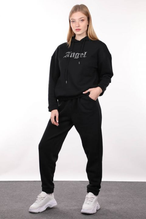 Black Angel Stone Embroidered Raised Jogger Sweatpants For Women