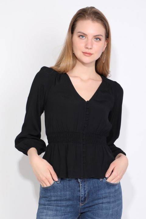 Black Buttoned Belted Elastic Women Blouse