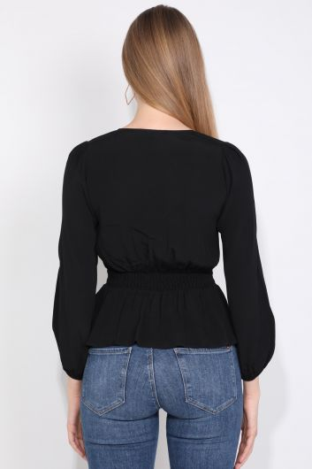 Black Buttoned Belted Elastic Women Blouse - Thumbnail