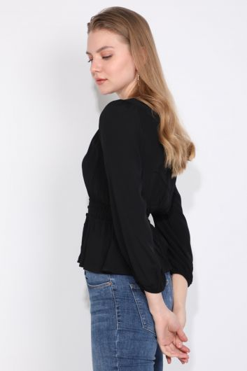 MARKAPIA WOMAN - Черная эластичная женская блузка с пуговицами и поясом (1)