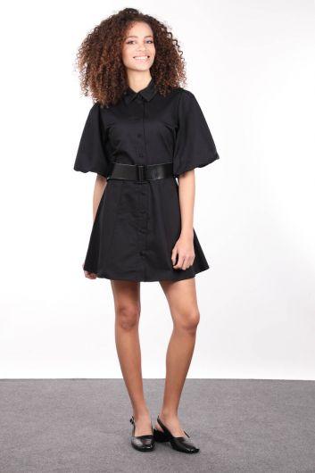 Black Buttoned Balloon Sleeve Women Dress - Thumbnail