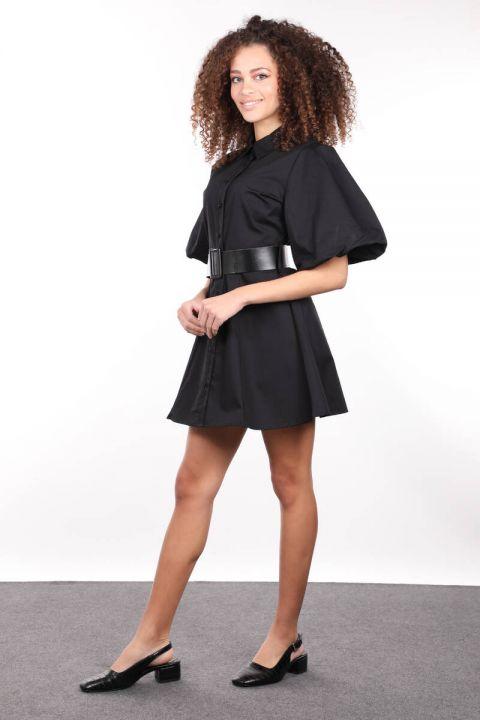 Black Buttoned Balloon Sleeve Women Dress
