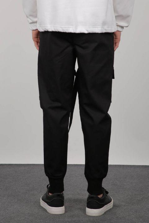 Black Cargo Pocket Men's Trousers