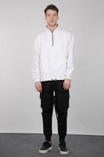 Black Cargo Pocket Men's Trousers - Thumbnail