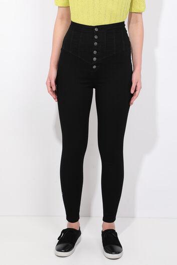 Черные джинсовые брюки скинни с детализированными пуговицами - Thumbnail