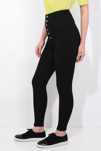 MARKAPIA WOMAN - Черные джинсовые брюки скинни с детализированными пуговицами (1)