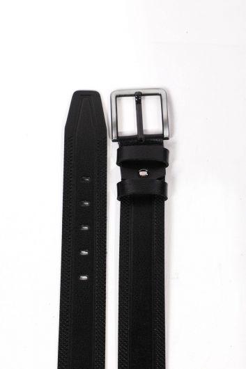 Black Embroidered Patterned Men's Genuine Leather Belt - Thumbnail