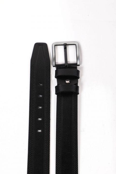 Black Embroidered Patterned Men's Genuine Leather Belt
