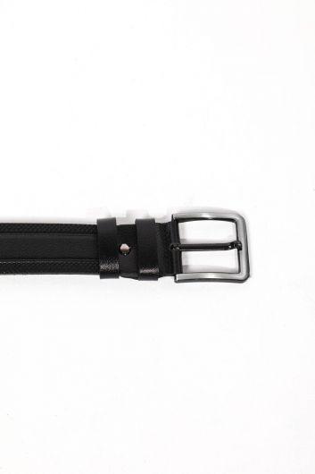 Черный мужской ремень из натуральной кожи с вышивкой и узором - Thumbnail