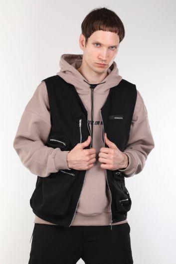 Black Zippered Pocket Men's Vest - Thumbnail