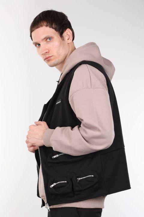 Black Zippered Pocket Men's Vest