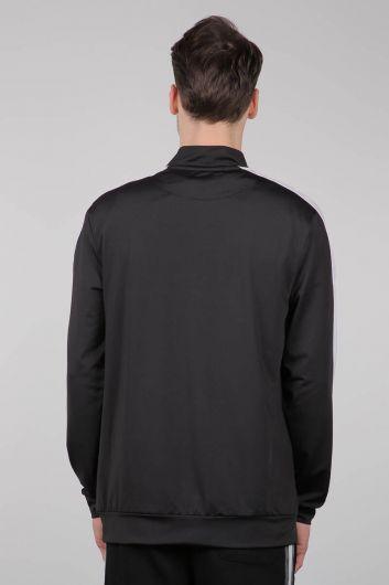 Черный спортивный мужской свитшот на молнии - Thumbnail