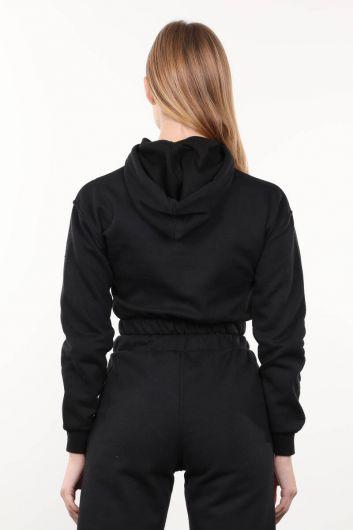 سويت شيرت أسود نسائي قصير بغطاء للرأس - Thumbnail