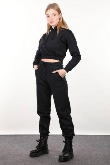 Черная укороченная женская толстовка с капюшоном - Thumbnail