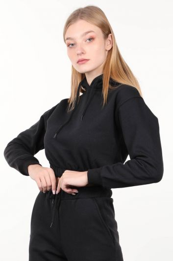 MARKAPIA WOMAN - Black Hooded Crop Women Sweatshirt (1)