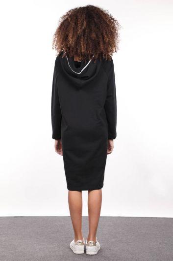 Черное длинное спортивное платье на молнии с капюшоном - Thumbnail