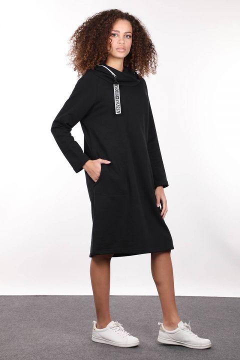 Black Hooded Zipper Detail Long Sweat Dress