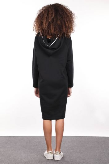 Black Hooded Zipper Detail Long Sweat Dress - Thumbnail