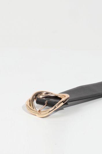 حزام مشبك جلد أسود نسائي كبير - Thumbnail