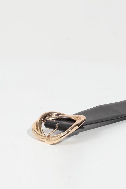 حزام مشبك جلد أسود نسائي كبير