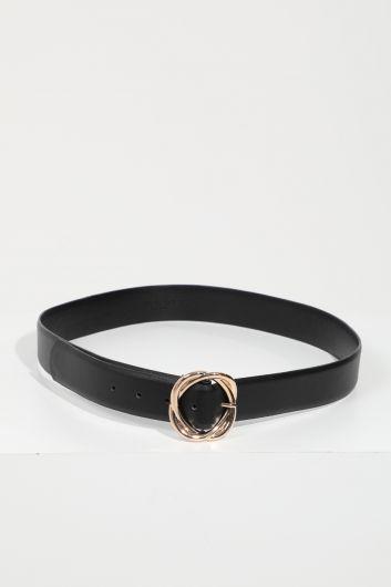 Женский черный кожаный ремень с большой пряжкой - Thumbnail
