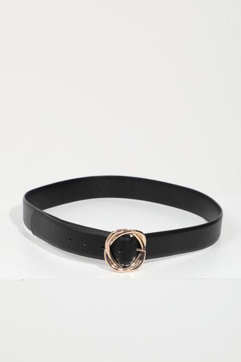 Женский черный кожаный ремень с большой пряжкой