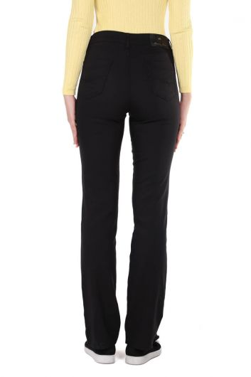 بنطلون أسود طويل الساق يناسب المرأة العادية - Thumbnail