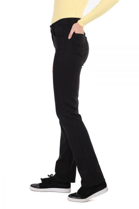 Black Long Leg Regular Fit Women's Trousers