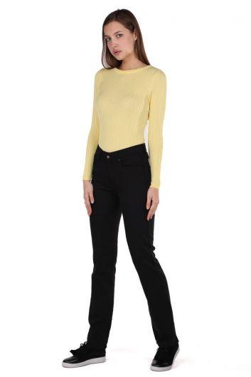 Black Long Leg Regular Fit Women's Trousers - Thumbnail