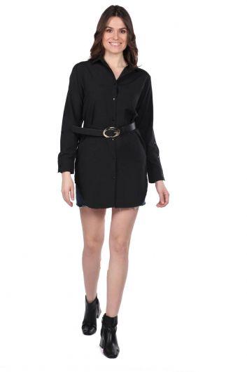 ماركابيا قميص أسود طويل مستقيم - Thumbnail