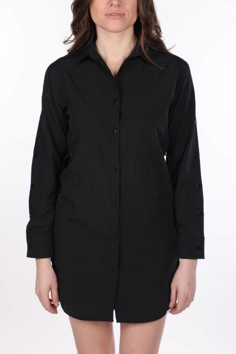ماركابيا قميص أسود طويل مستقيم