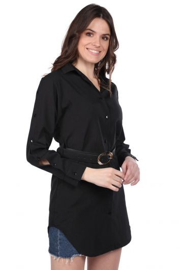 MARKAPIA WOMAN - Черная длинная прямая рубашка Markapia (1)