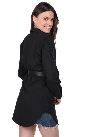 Черная длинная прямая рубашка Markapia - Thumbnail