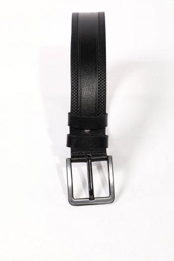 Black Men's Genuine Leather Belt - Thumbnail