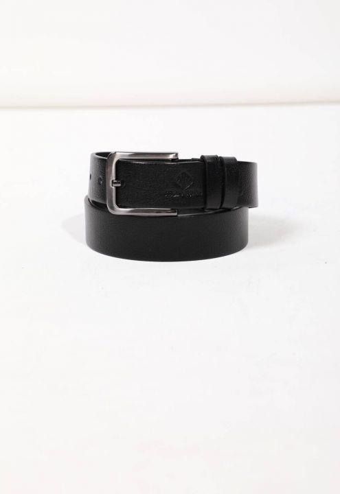 حزام جلد طبيعي أسود للرجال