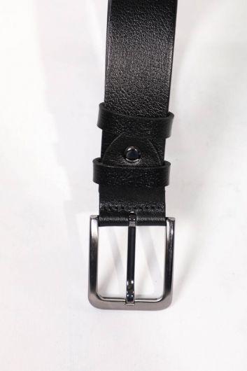 حزام جلد طبيعي أسود للرجال - Thumbnail