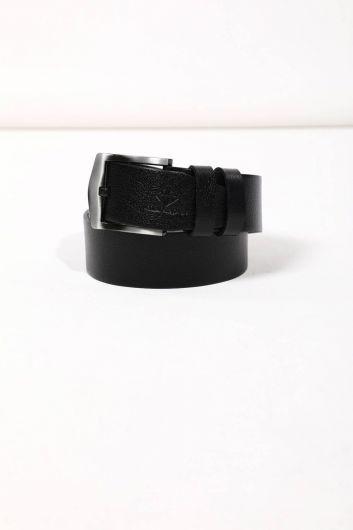 Black Men's Plain Genuine Leather Belt - Thumbnail