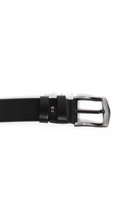 Black Men's Plain Genuine Leather Belt