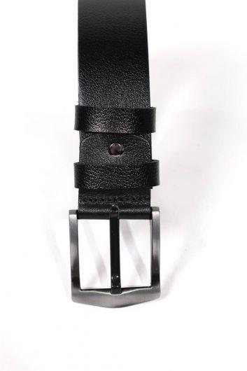 Черный мужской ремень из натуральной кожи - Thumbnail