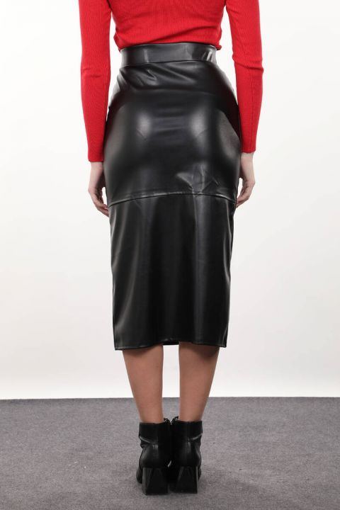تنورة ميدي جلد صناعي سوداء