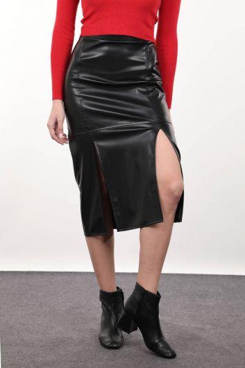 Black Midi Faux Leather Skirt - Thumbnail
