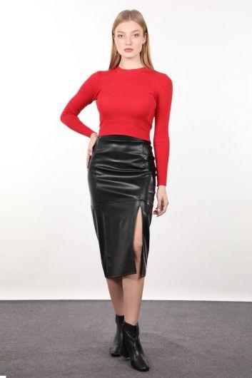 Черная юбка-миди из искусственной кожи - Thumbnail