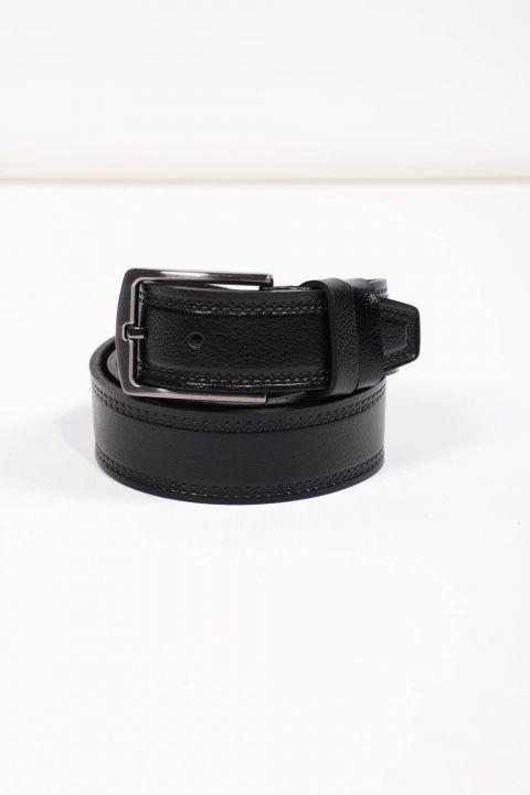 حزام جلد أسود منقوش للرجال