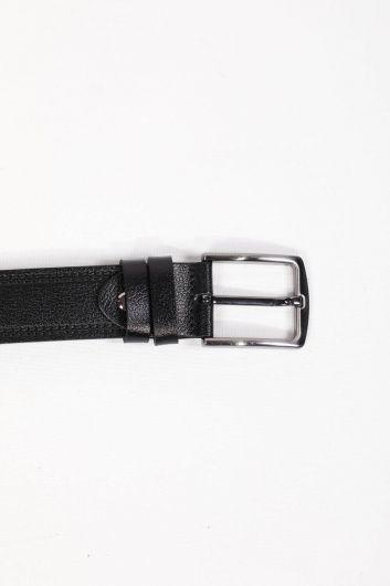حزام جلد أسود منقوش للرجال - Thumbnail