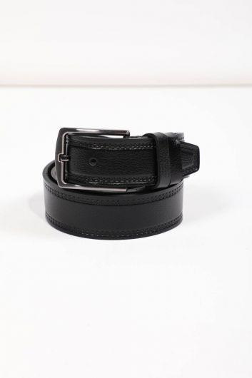 Black Patterned Men's Genuine Leather Belt - Thumbnail