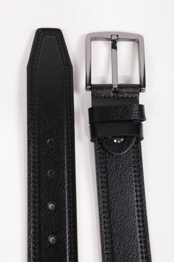 MARKAPIA MAN - Black Patterned Men's Genuine Leather Belt (1)