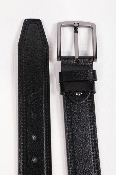 Black Patterned Men's Genuine Leather Belt