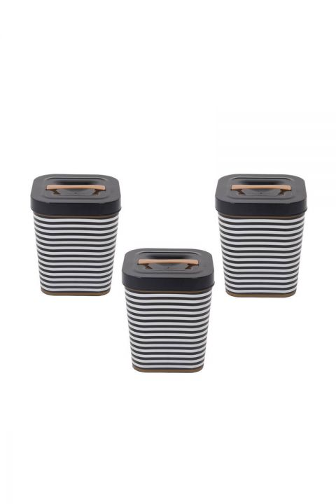 Black Patterned Square Bucket With Lid Set of 3